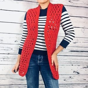 Sweaters - Red Women's Open Cable knit Holes Cover up Top S